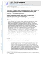 effects of teacher read-alouds and student silent reading on predominantly bilingual high school seniors' learning and retention of social studies content.