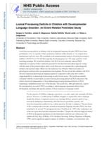 Lexical processing deficits in children with developmental language disorder
