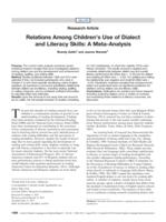Relations Among Children's Use of Dialect and Literacy Skills