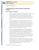 Large-Scale Study of Specific Reading Comprehension Disability.