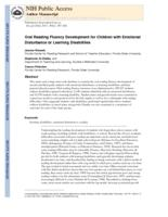 Oral Reading Fluency Development for Children with Emotional Disturbance or Learning Disabilities.