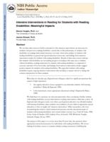 Intensive Interventions in Reading for Students with Reading Disabilities
