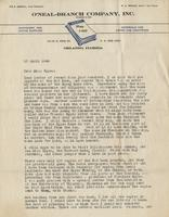 Letter to Miss Eppes from W. S. Branch of the O'Neal Branch Company, Inc.