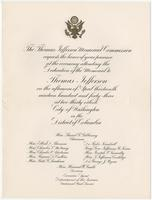 Invitation to the dedication of the memorial to Thomas Jefferson