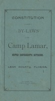 Constitution and By-Laws of Camp Lamar, United Confederates Veterans.: Leon County, Florida.