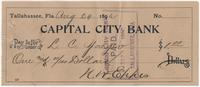 Capital City Bank Check for $1.00 to L. C. Yaeger, signed by N. W. Eppes