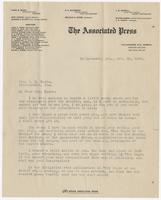 Letter to Mrs. Eppes from H.S. Ahern, Correspondent for The Associated Press
