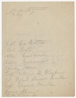 Handwritten list of names