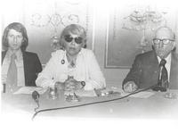 Claude Pepper at press conference with Inez Weissman