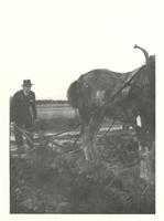 Claude Pepper and horse plowing a field