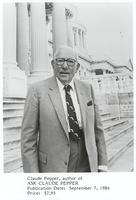 Book publicity photo of Claude Pepper standing in front of the Capitol Building