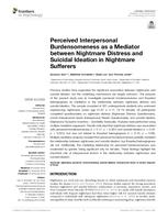 Perceived Interpersonal Burdensomeness as a Mediator between Nightmare Distress and Suicidal Ideation in Nightmare Sufferers