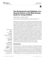 The Development and Validation of a Revised Version of the Math Anxiety Scale for Young Children