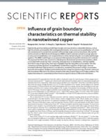 Influence of grain boundary characteristics on thermal stability in nanotwinned copper