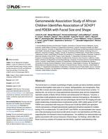 Genomewide Association Study of African Children Identifies Association of SCHIP1 and PDE8A with Facial Size and Shape