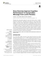 Does Exercise Improve Cognitive Performance? A Conservative Message from Lord's Paradox