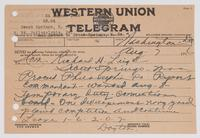 Telegram for Richard H. Leigh ordering him to proceed to Philadelphia