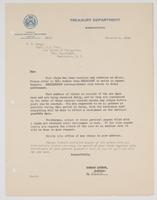Acknowledgement of receiving Richard H. Leigh's claim to the Treasury Department