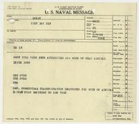 U.S. Naval Message from BuNav to Richard H. Leigh authorizing travel payment for his wife's transportation
