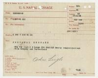 U.S. Naval Message Henderson to Richard H. Leigh