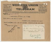 Telegram for Rear Admiral and Mrs. R. H. Leigh