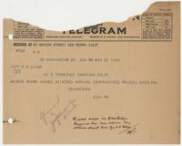 Telegram for Captain R. H. Leigh