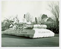 Young woman on a parade float