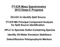 FT-ICR Mass Spectrometry 2012 Deep-C Progress