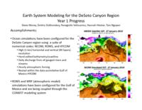 Earth System Modeling for the DeSoto Canyon Region Year 1 Progress