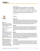 Demographics As Predictors Of Suicidal Thoughts And Behaviors