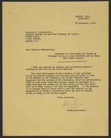 Letter to Monsieur Stavropoulos from J.W.C. Turner, 22 September, 1944