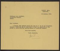Letter to Goodhart from J.W.C. Turner, 10 October, 1944