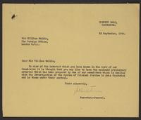 Letter to Sir William Malkin from J.W.C. Turner, 22 September, 1944