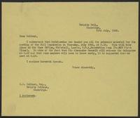 Letter to Hollond, 26th July, 1943