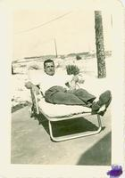 A man in a beach chair