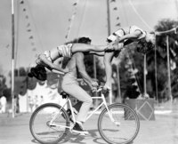 Acrobatic tricks on a bicycle