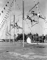 Performers practicing on trapeze ropes