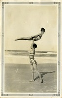 Children in Gymnastic Poses on a Beach