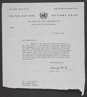 United Nations Letter From Martin Hill to Leon Radzinowicz