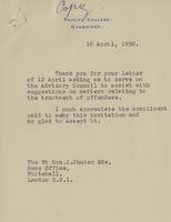 Letter to Hon. J Chuter Ede from Leon Radzinowicz