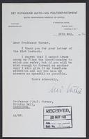 Letter to J.W.C. Turner from Andreas Aulie, 24th May, 1943