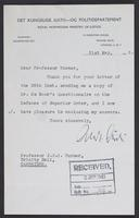 Letter to J.W.C. Turner from Andreas Aulie, 31st May, 1943