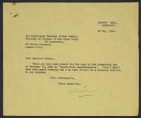Letter to Monsieur Bodson from J.W.C. Turner, 20 May, 1944