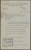 Letter to J.W.C. Turner from  the secretary of Mr. Stabell, 10th August, 1942
