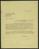 Letter to Monsieur le Ministre from J.W.C. Turner, 13th March, 1942