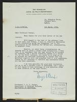 Letter to Professor Turner from Terje Wold, 5th March, 1942