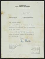 Letter to Professor Turner from Terje Wold, 27th November, 1941