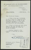 Letter to Professor Turner from Peter P. Stabell, 14th March, 1942