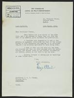 Letter to Professor Turner from Terje Wold, 14th March, 1942