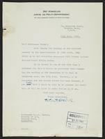 Letter to Professor Turner from Peter P. Stabell, 11th July, 1942